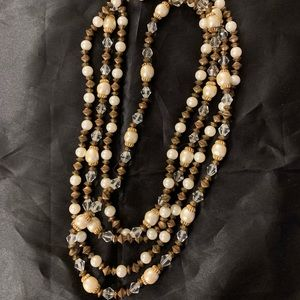 Vintage necklace with crystal and faux pearl